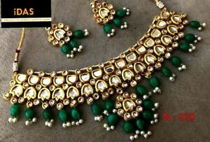 Indian Bollywood Kundan Green Beads Necklace Earrings Traditional Jewelry Set