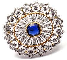 Authentic! Buccellati 18k Yellow & White Gold 68 Diamonds Sapphire Brooch Pin