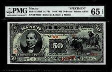 "Mexico RARE $50 Pesos""SPECIMEN""Banco Londres Y Mexico1913 PMG 65"