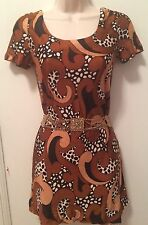 1970s Brown Leopard Abstract Curls Tunic Mini Dress Chic Scoop Neck Xs