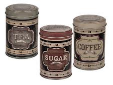 SET OF 3 ROUND METAL TEA COFFEE SUGAR POT Vintage Tins Kitchen Storage Canister