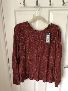 M&S Ladies Terracotta Mix Top Size 20 Long Sleeve Blouse Shirt Rust Spot