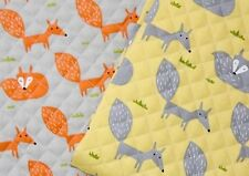Fox grey yellow 100% Cotton Ready quilted Fabric Pre-quilted padded animal JQ31+