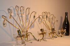 Exceptionnelles appliques en laiton doré et pampilles de cristal XIXème - RARE