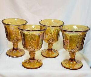 Set of 4 Vintage Indiana Glass, Harvest Grape Amber Carnival Glass Goblets, EUC