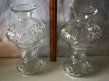 """PAIR OF LEAD GLASS TWO PIECE CRYSTAL CANDLESTICKS 11"""" TALL X 5"""" WIDE EACH  #445"""