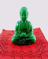 JADE GREEN STONE RECLINING BUDDHA THAI PATCH COLLECTIBLE AMULET STATUE CARVED