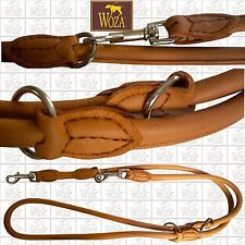 PREMIUM DOG LEAD ROLLED NAPA LEATHER WOZA LEAD FOR DOG GENUINE COW LEATHER L6347