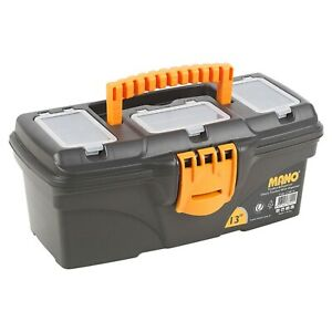"Small Black 13"" Plastic Toolbox Organiser Carry Handle Lid Storage Tool Tray"