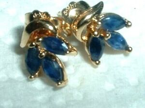 SOLID 14K ELEGANT REAL NATURAL BLUE SAPPHIRE MARQUISE EARRINGS  DAINTY QUALITY