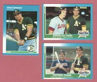 1987 JOSE CANSECO FLEER #389 & 625 POWER & 628 ROOKIE A.Ss 3 CARD LOT A'S SHARP