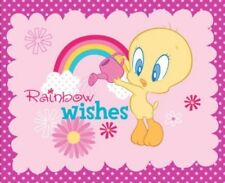 LOONEY TUNES Yellow Tweety Bird Cloud & Rainbow Wishes Pink Cotton Panel Fabric