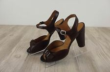 NEW Anthropologie Chie Mihara Open Toe Heels Pumps Womens Sz 38 Chestnut Shoes