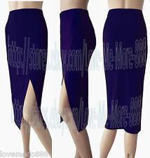 Women Plain Casual Business Work High Side Split long MIDI MAXI Skirt DRESS (S)