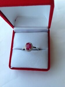 New 925 Sterling Silver Gemstone Ruby Solitaire Ring Size P Best Gift (Red)