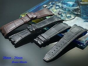 Alligator skin strap band bracele (fits) Audemars Piguet AP Royal Oak 26mm 28mm