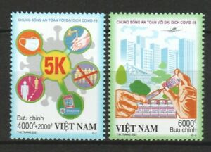 VIETNAM 2021 LIVING SAFELY WITH VIRUS 19 PANDEMIC SEMI POSTAL COMP. SET 2 STAMPS