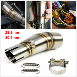 Motorcycle Bike Exhaust Middle Pipe Stainless Steel Muffler Mid Section Adapter