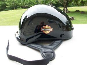 """Genuine  """"Harley Davidson Black Half Motorcycle Helmet""""  Large"""