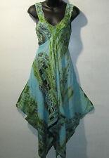Dress Fits M L XL Purple Green Dashiki African Print Racer Back Empire NWT 7273