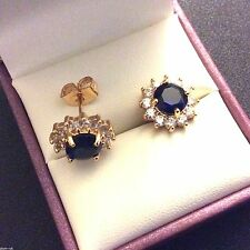MR Blue sapphires & sim diamonds 11mm gold filled stud earrings BOXED Plum UK