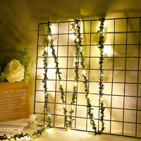 AU_ KE_ LED Leaf Vine Garland USB Fairy Light Strings Wedding Holiday Party Deco