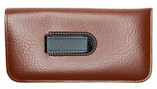 NEW Premium Soft Eyeglasses Glasses Case Pouch Light Brown w/CLIP +CleaningCloth