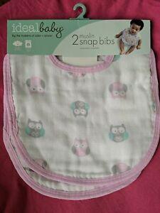 Ideal Baby New 2  PACK MUSLIN SNAP BIBS