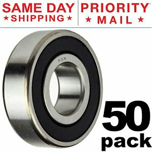 608-2RS Ball Bearing 8x22x7 Two Rubber Sealed Chrome Skateboard 608RS (50 QTY)