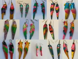 Fancy A1 Hand Painted Parrot Earrings Tropical Bird Ear Bling Jewellery Rings