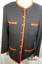 St. John Collection Jacket, Medium, Black with Red Trim, Button front, Longsleev