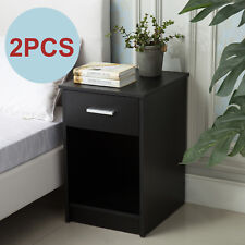 Set of 2 Modern Black Nightstands End Table Shelf with Drawer Bedroom Furniture