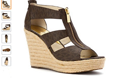 Michael Kors Damita Wedge Brown MK Mini Logo Espadrille Sandal 8 M Display