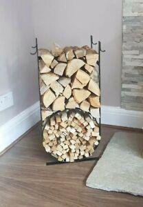 Metal Firewood Log and Kindling Holder/store/rack/basket Handmade black