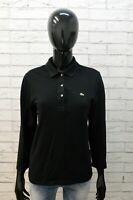 Lacoste Maglia da Donna Taglia 36 ( M ) Polo Maglietta Shirt Woman Cotone Nero
