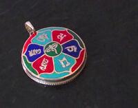 925er Silber Anhänger Amulett Mantra Buddhas Augen Türkis Lapis Nepal Tibet