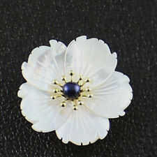 High Quality Genuine White Carved Flower Shell Dual-use Pendant Brooches Jewelry