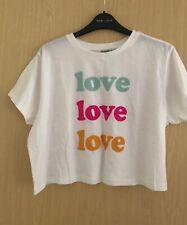 ASOS White Love Logo Cropped T-Shirt Size 14