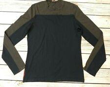 Mens PRADA Long Sleeve T Shirt Top Navy Grey Stretch Size Medium Genuine