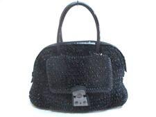 Auth ANTEPRIMA Wire Bag Black Chemical Fiber Patent Leather Handbag