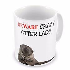 Beware Crazy Otter Lady Funny Novelty Gift Mug