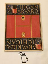 1929 Harvard @ Michigan Football Original Program UofM UM VG-