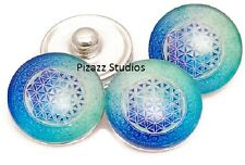 Snap Charm Blue Green Flower of Life 18mm Jewelry Chunk Glass Snaps DIY 18-8