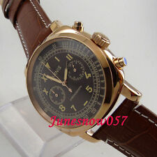 Parnis Full chronograph quartz Mens watch 676 Black dial 44mm golden case 5ATM