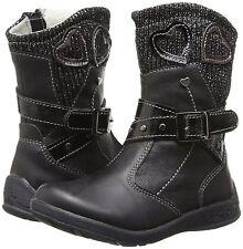 Beeko Lydia II Girls UK 10 EU 28 Black Love Heart Knitted Collar New Ankle Boots