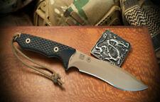 Spartan Blades Knife Ronin Shinto FDE Blade Black Handle Black Nylon Sheath