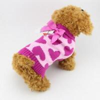 Cute Small Dog Coats Sweater Warm Chihuahua Clothes Pet Sweatshirt Pink XS-L