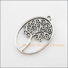 4Pcs Tibetan Silver Tone Oval Circle Tree Charms Pendants 27x40mm