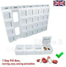 7 Day Pill Box  Organiser Tablet Dispenser Planner Packaged New Free UK P&P-NEW