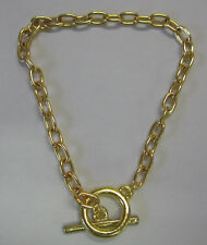 18cm Chain Bracelet With Toggle Clasp In Bright Gold 5x7.5mm Links BNIP JF779